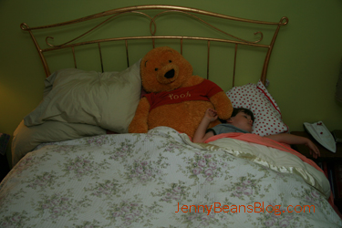 Funny Bunny and Winnie-the-Pooh snuck into my bed.